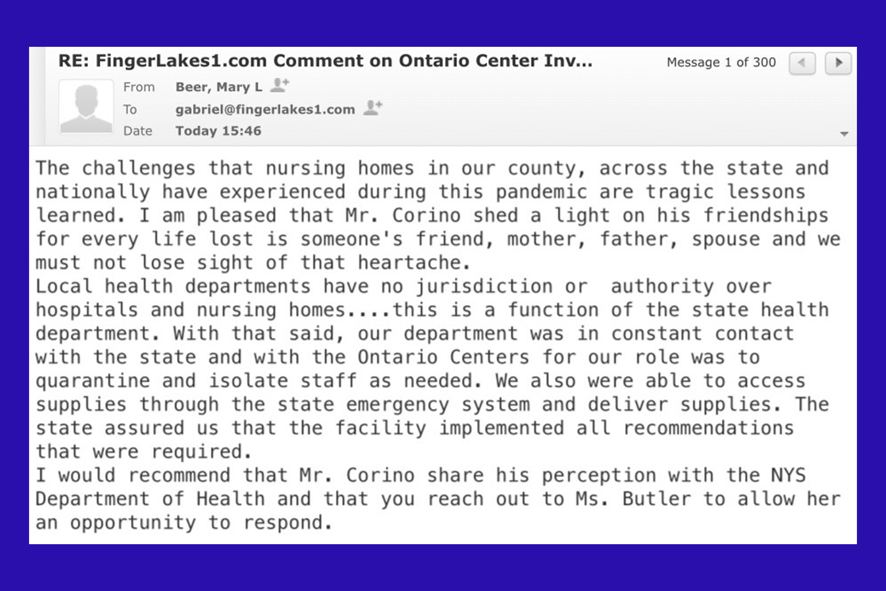 What did local health officials know about Ontario Center problems?