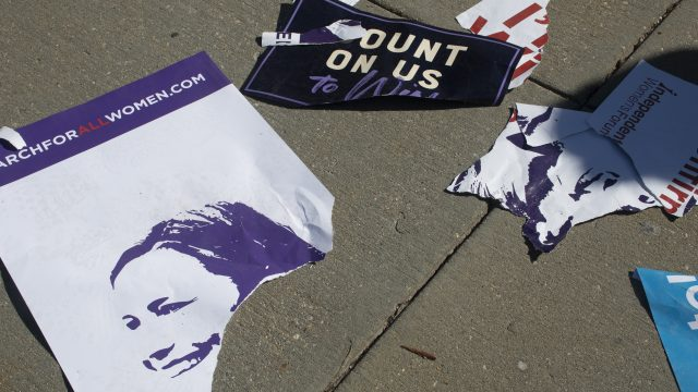 Ripped up Amy Coney Barrett signs