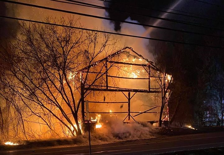 Large barn destroyed by fire in Victor