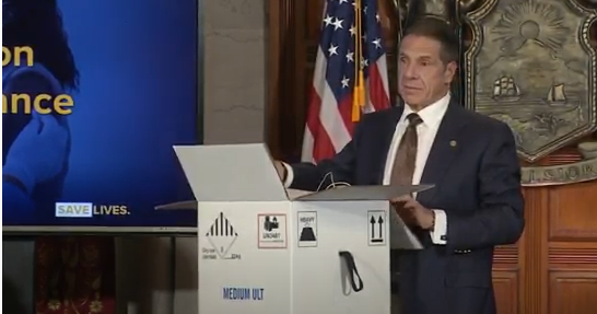 WATCH: Gov. Cuomo gives briefing, unboxes Pfizer vaccine showing complex sto