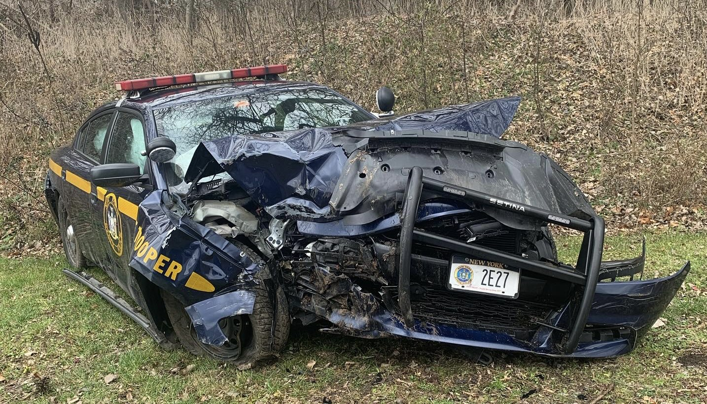 Three troopers hurt, cruiser totaled after executing search warrant in Wayne County